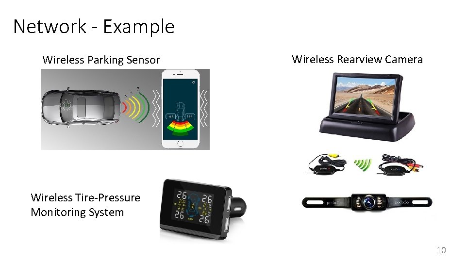 Network - Example Wireless Parking Sensor Wireless Rearview Camera Wireless Tire-Pressure Monitoring System 10