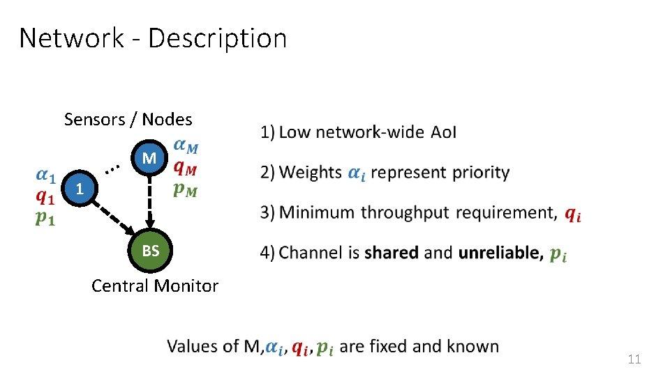 Network - Description Sensors / Nodes 1 … M BS Central Monitor 11