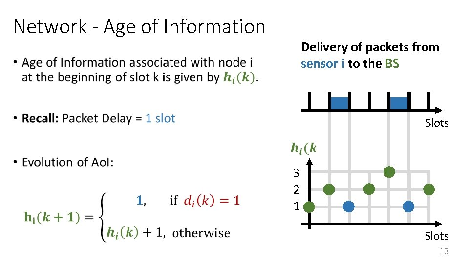 Network - Age of Information Delivery of packets from sensor i to the BS