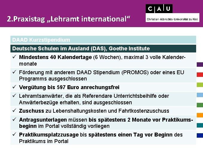 """2. Praxistag """"Lehramt international"""" DAAD Kurzstipendium Deutsche Schulen im Ausland (DAS), Goethe Institute ü"""