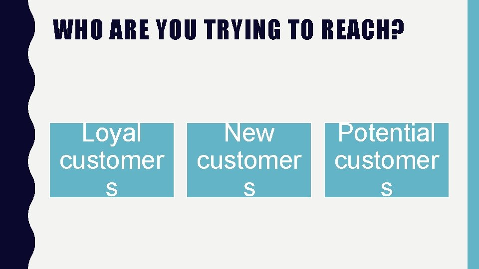 WHO ARE YOU TRYING TO REACH? Loyal customer s New customer s Potential customer