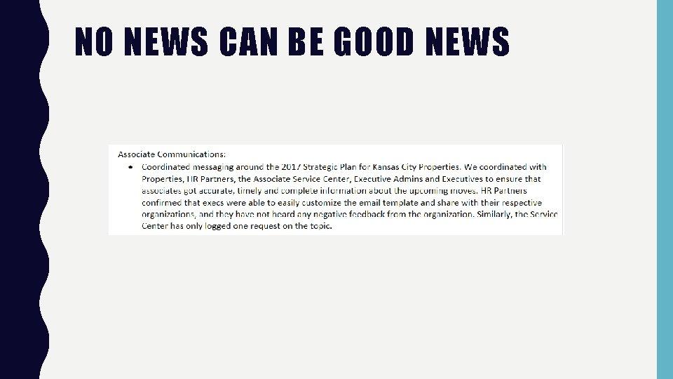 NO NEWS CAN BE GOOD NEWS