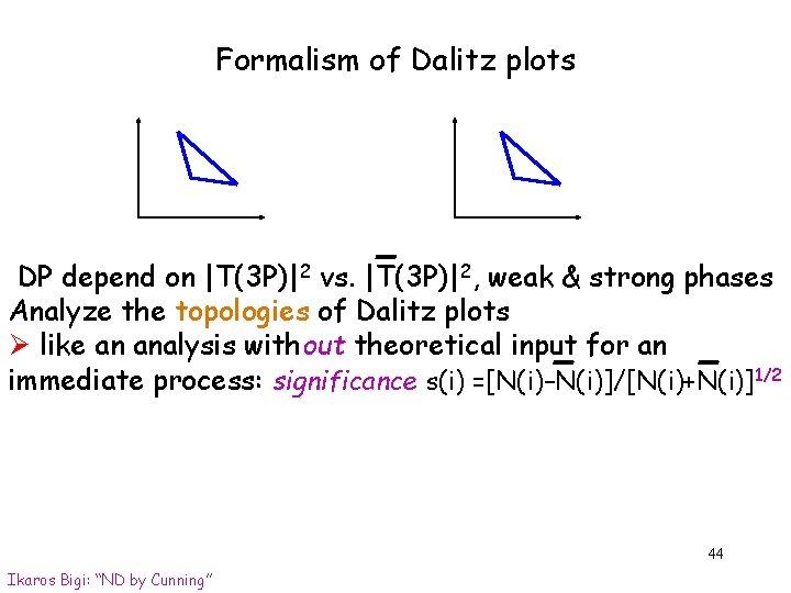 Formalism of Dalitz plots DP depend on  T(3 P) 2 vs.  T(3 P) 2, weak &