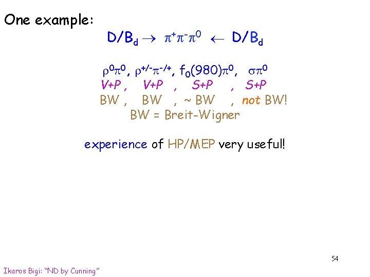 D/Bd p+p-p 0 One example: D/Bd r 0 p 0, r+/-p-/+, f 0(980)p 0,