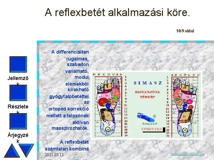 A reflexbetét alkalmazási köre. 10/9 oldal Jellemző k Részlete k Árjegyzé k A differenciáltan