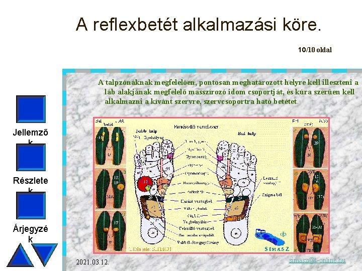 A reflexbetét alkalmazási köre. 10/10 oldal A talpzónáknak megfelelően, pontosan meghatározott helyre kell illeszteni