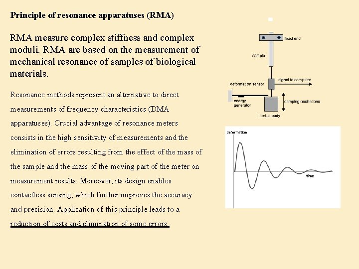 Principle of resonance apparatuses (RMA) RMA measure complex stiffness and complex moduli. RMA are