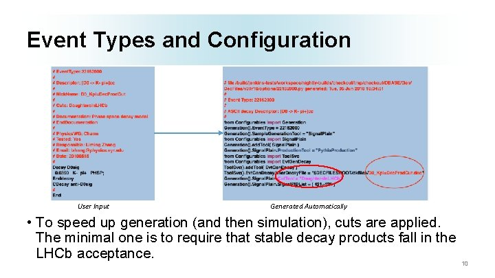 Event Types and Configuration User Input Generated Automatically • To speed up generation (and