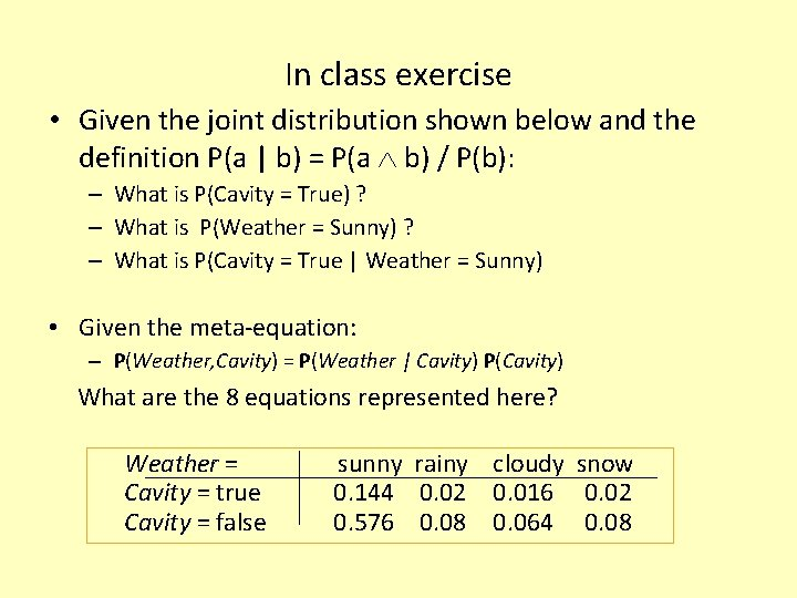 In class exercise • Given the joint distribution shown below and the definition P(a