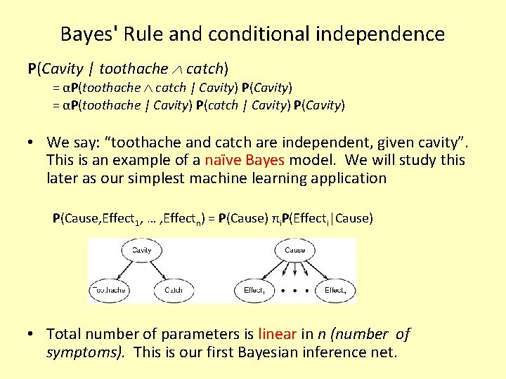 Bayes' Rule and conditional independence P(Cavity | toothache catch) = αP(toothache catch | Cavity)