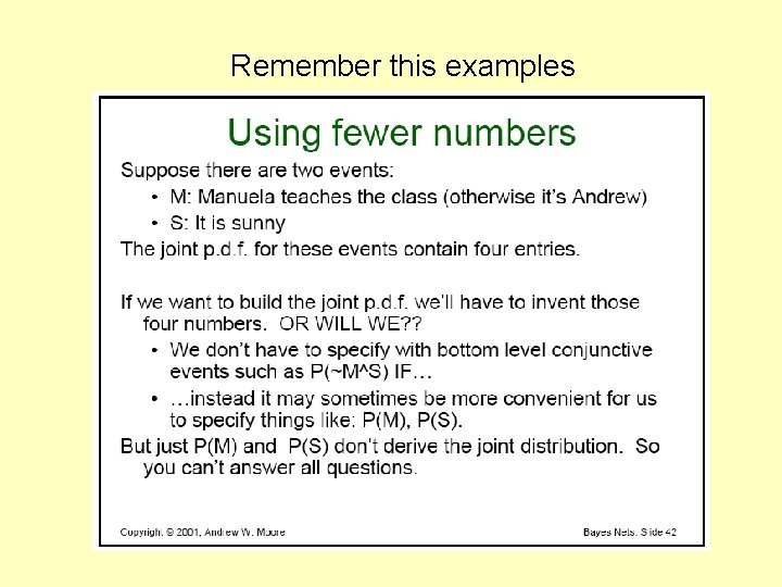 Remember this examples