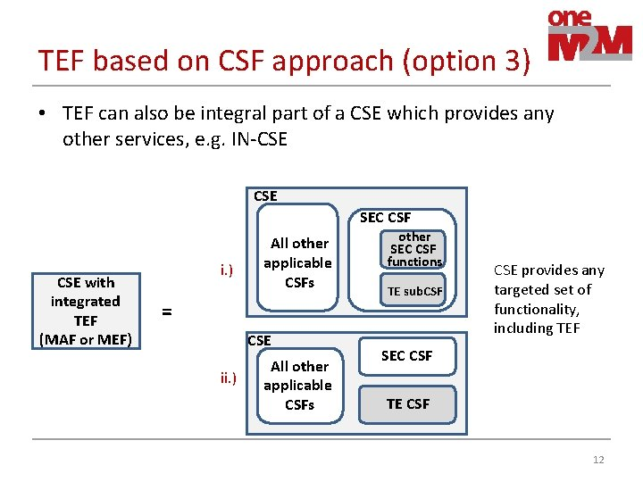 TEF based on CSF approach (option 3) • TEF can also be integral part