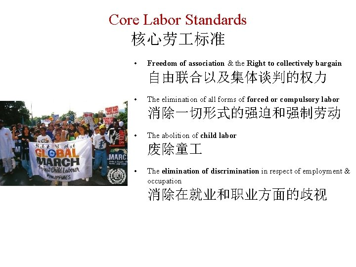 Core Labor Standards 核心劳 标准 • Freedom of association & the Right to collectively