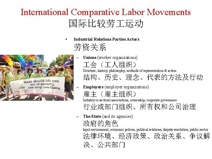 International Comparative Labor Movements 国际比较劳 运动 • Industrial Relations Parties Actors 劳资关系 – Unions