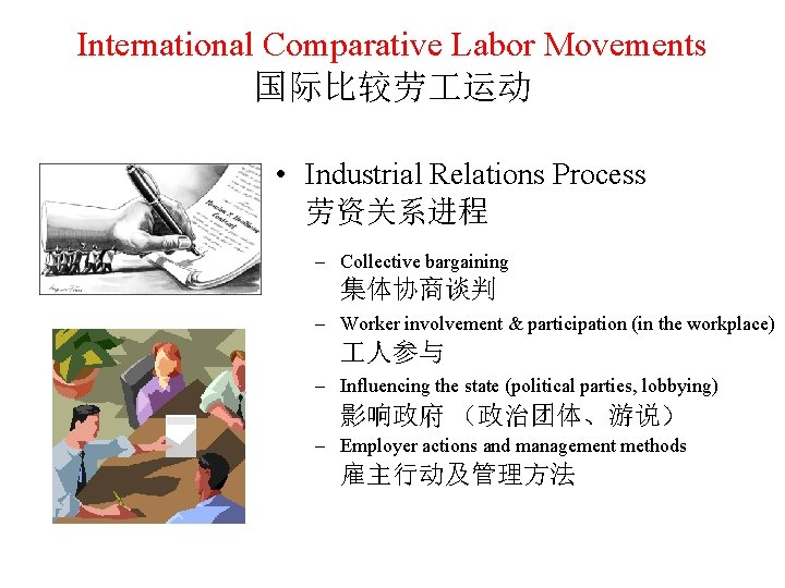 International Comparative Labor Movements 国际比较劳 运动 • Industrial Relations Process 劳资关系进程 – Collective bargaining