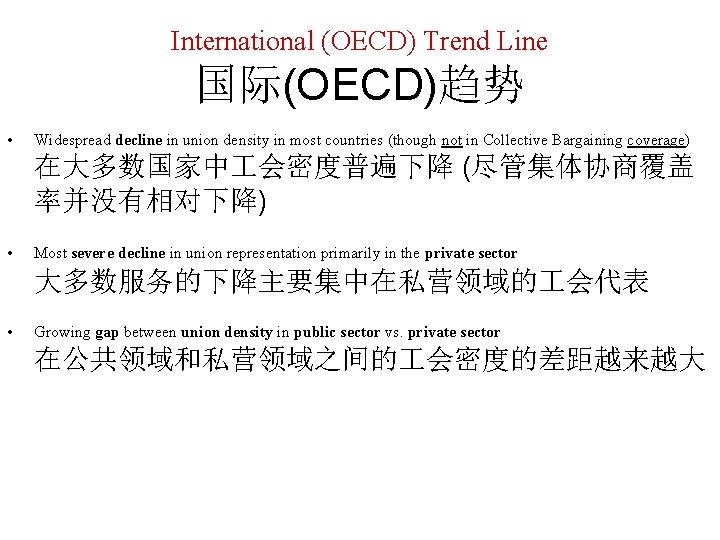 International (OECD) Trend Line 国际(OECD)趋势 • Widespread decline in union density in most countries