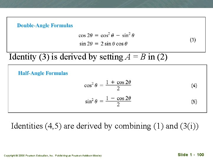 Identity (3) is derived by setting A = B in (2) Identities (4, 5)