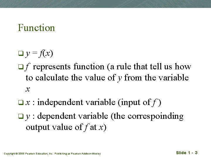 Function qy = f(x) q f represents function (a rule that tell us how