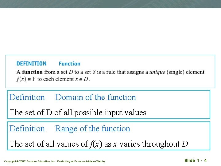Definition Domain of the function The set of D of all possible input values