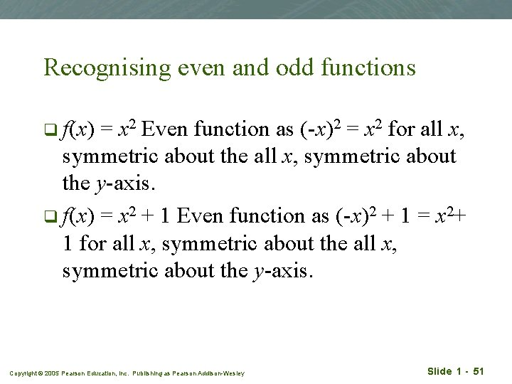 Recognising even and odd functions q f(x) = x 2 Even function as (-x)2