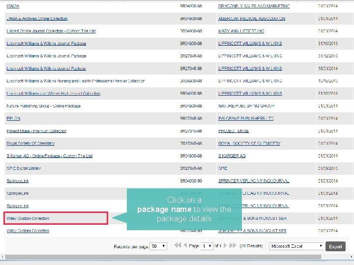 """To see a package dashboard, start with """"E-Package Orders"""" Click on a package name"""