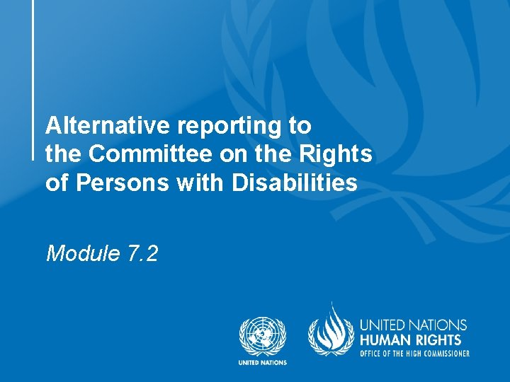 Alternative reporting to the Committee on the Rights of Persons with Disabilities Module 7.