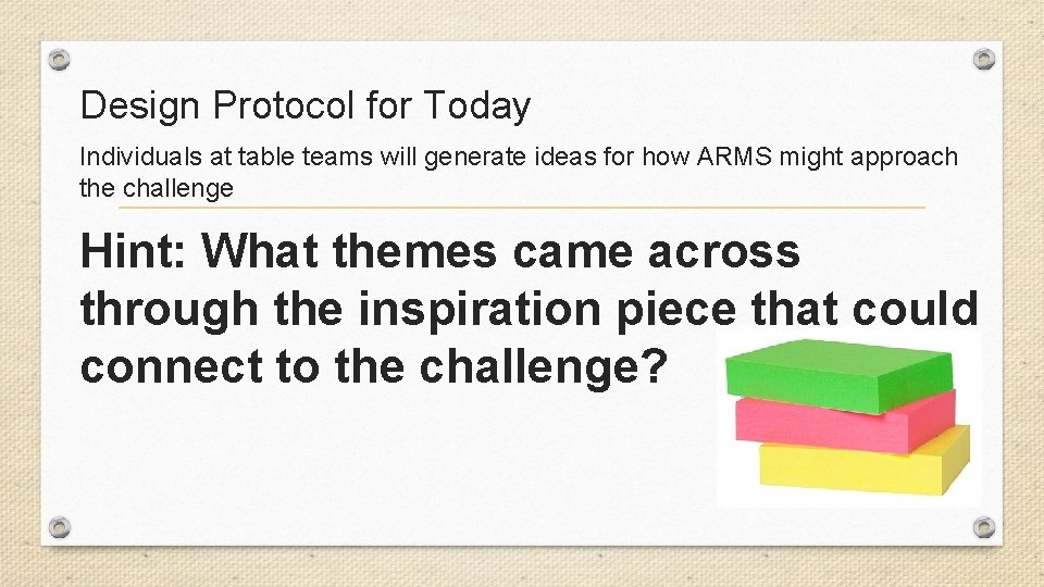Design Protocol for Today Individuals at table teams will generate ideas for how ARMS