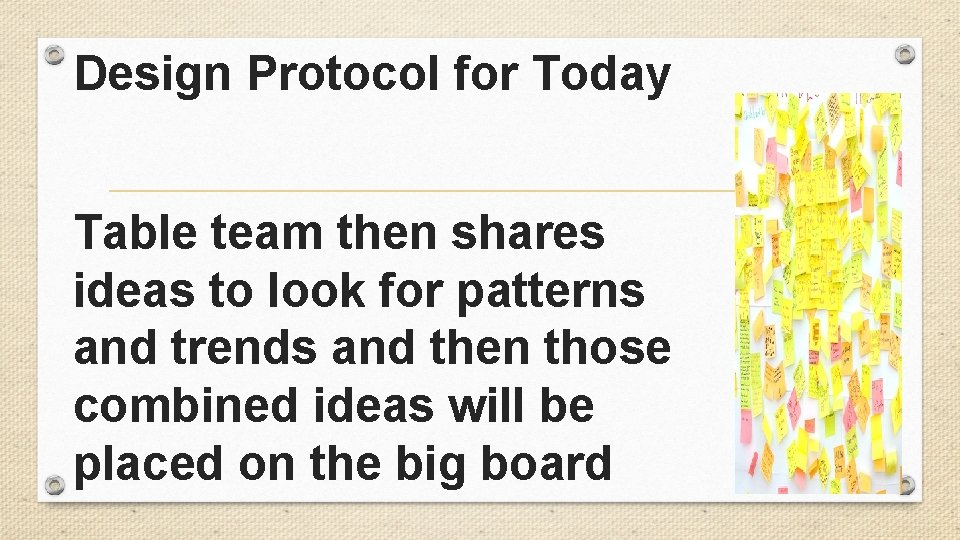 Design Protocol for Today Table team then shares ideas to look for patterns and