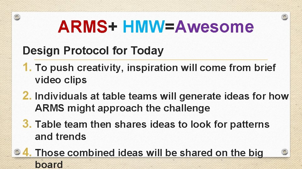 ARMS+ HMW=Awesome Design Protocol for Today 1. To push creativity, inspiration will come from