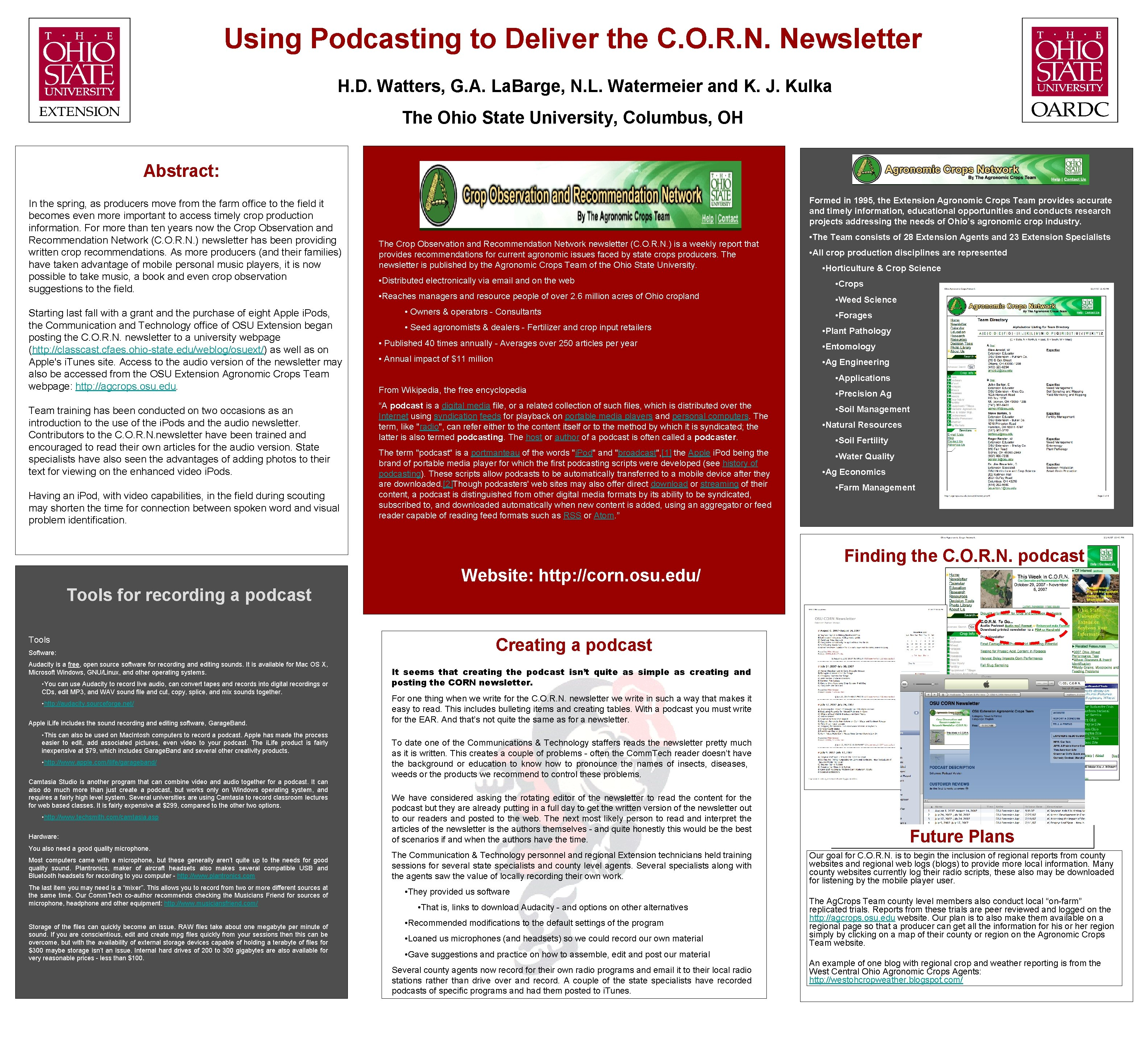 Using Podcasting to Deliver the C. O. R. N. Newsletter H. D. Watters, G.