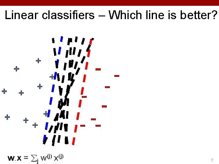 Linear classifiers – Which line is better? w. x = j w(j) x(j) 7