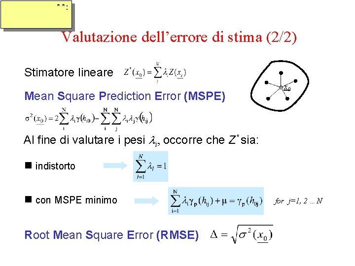* *: Valutazione dell'errore di stima (2/2) Stimatore lineare Mean Square Prediction Error (MSPE)