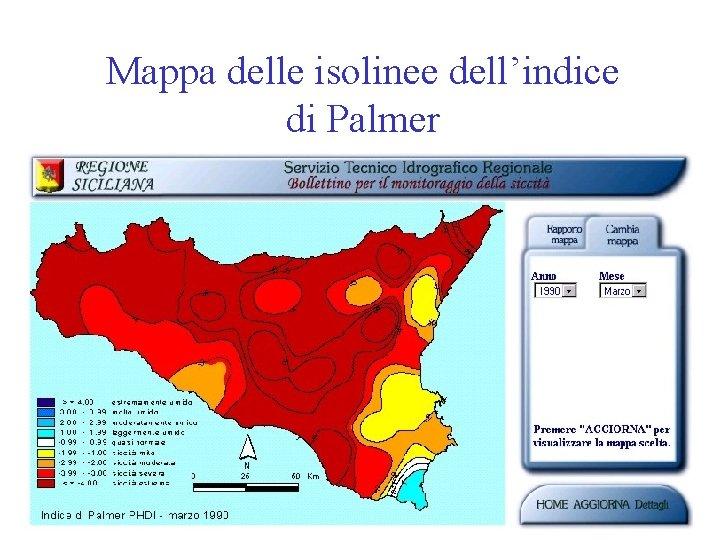 Mappa delle isolinee dell'indice di Palmer