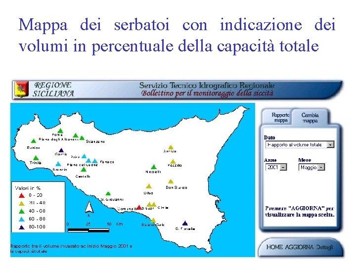 Mappa dei serbatoi con indicazione dei volumi in percentuale della capacità totale