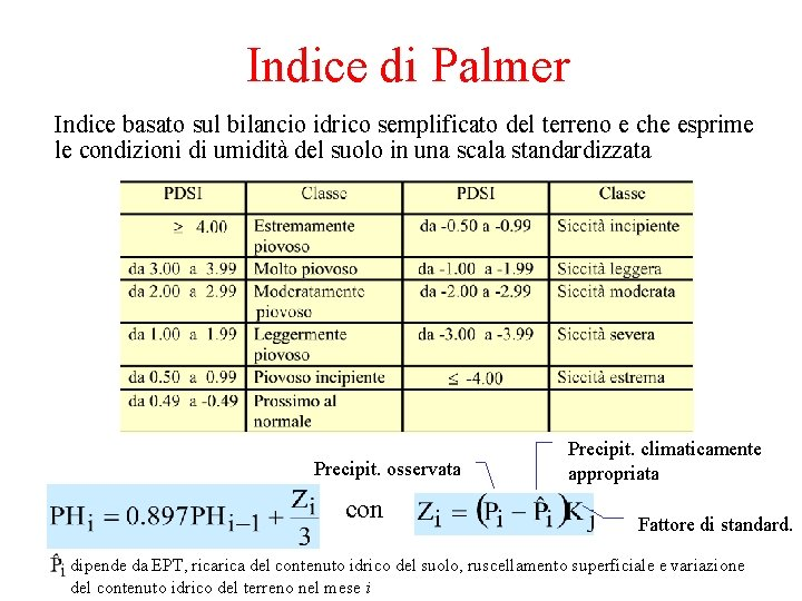 Indice di Palmer Indice basato sul bilancio idrico semplificato del terreno e che esprime
