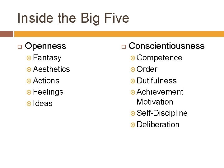 Inside the Big Five Openness Conscientiousness Fantasy Competence Aesthetics Order Actions Dutifulness Feelings Achievement