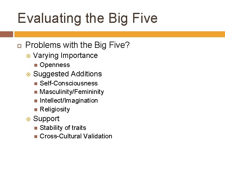 Evaluating the Big Five Problems with the Big Five? Varying Importance Openness Suggested Additions