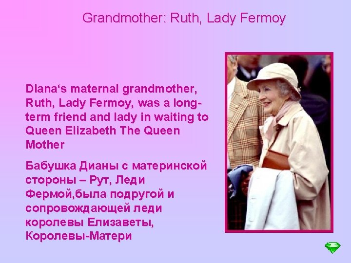 Grandmother: Ruth, Lady Fermoy . Diana's maternal grandmother, Ruth, Lady Fermoy, was a longterm