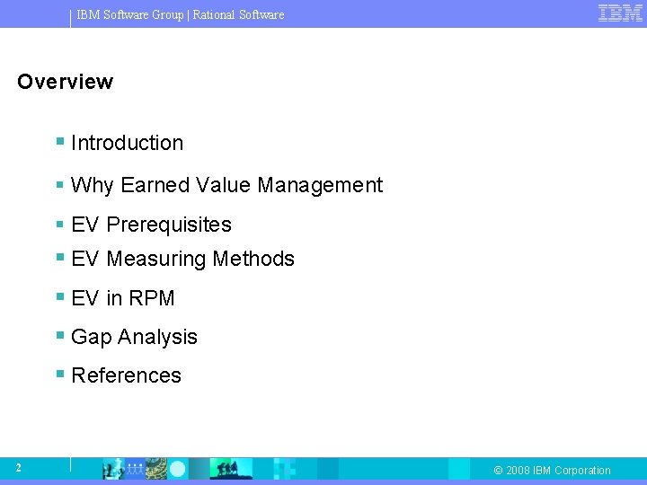 IBM Software Group   Rational Software Overview § Introduction § Why Earned Value Management
