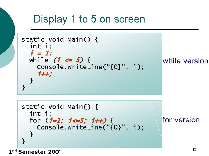 Display 1 to 5 on screen static void Main() { int i; i =