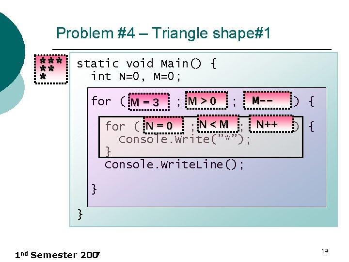 Problem #4 – Triangle shape#1 *** static void Main() { ** int N=0, M=0;