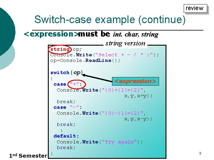 """review Switch-case example (continue) <expression>must be int, char, string version string op; Console. Write(""""Select"""