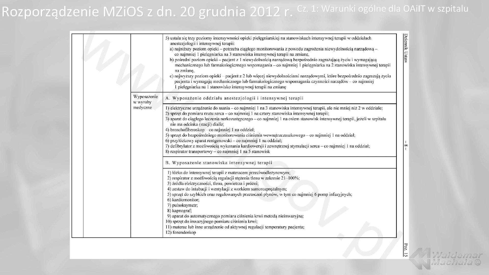 Rozporządzenie MZi. OS z dn. 20 grudnia 2012 r. Cz. 1: Warunki ogólne dla