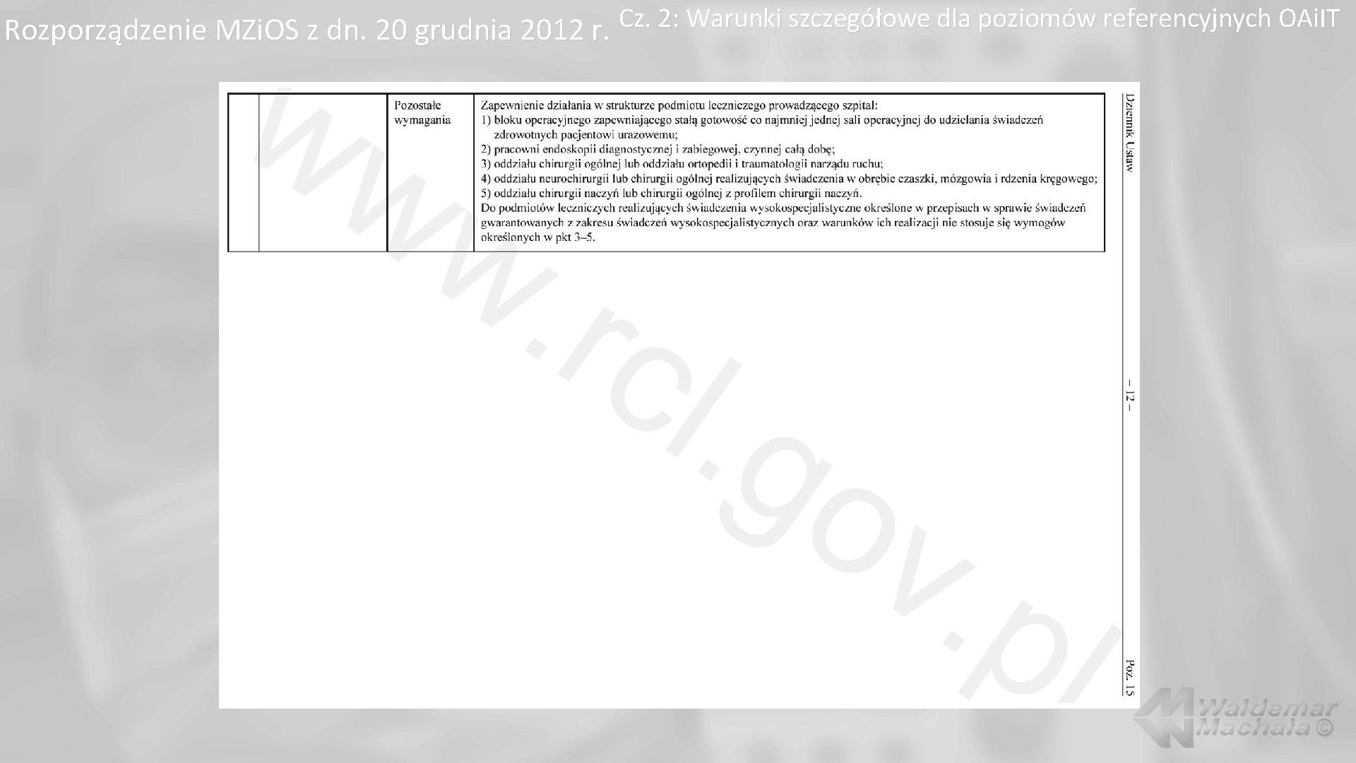 Cz. 2: Warunki szczegółowe dla poziomów referencyjnych OAi. IT Rozporządzenie MZi. OS z dn.