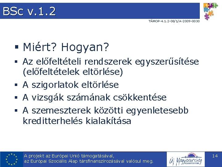 BSc v. 1. 2 TÁMOP-4. 1. 2 -08/1/A-2009 -0030 § Miért? Hogyan? § Az