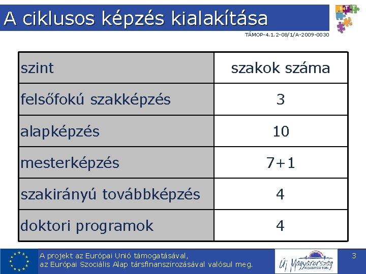 A ciklusos képzés kialakítása TÁMOP-4. 1. 2 -08/1/A-2009 -0030 szint szakok száma felsőfokú szakképzés