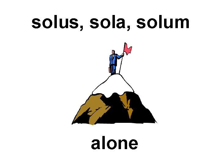 solus, sola, solum alone