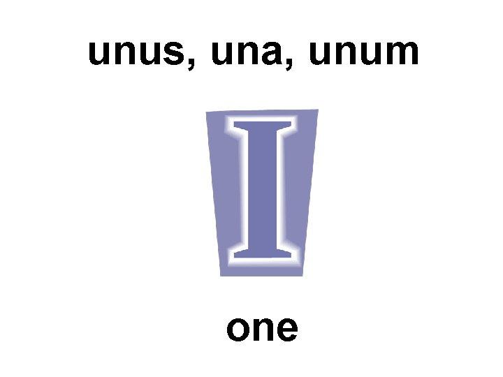 unus, una, unum one