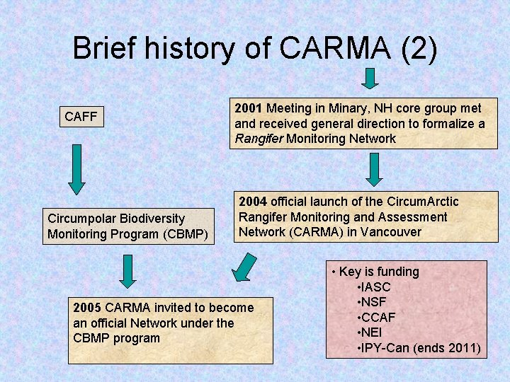 Brief history of CARMA (2) CAFF Circumpolar Biodiversity Monitoring Program (CBMP) 2001 Meeting in