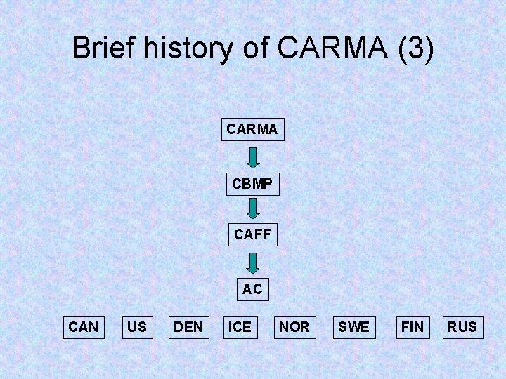 Brief history of CARMA (3) CARMA CBMP CAFF AC CAN US DEN ICE NOR